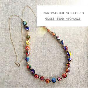 Millefiori Glass Bead Necklace-Handpainted
